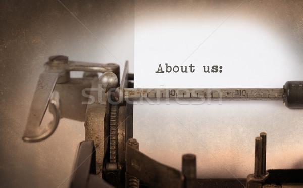 ストックフォト: ヴィンテージ · 碑文 · 古い · タイプライター · 私達について · 技術