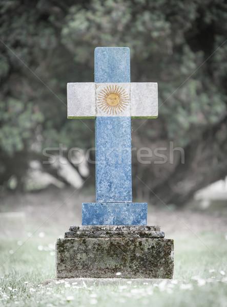 墓石 墓地 アルゼンチン 古い 風化した 草 ストックフォト © michaklootwijk