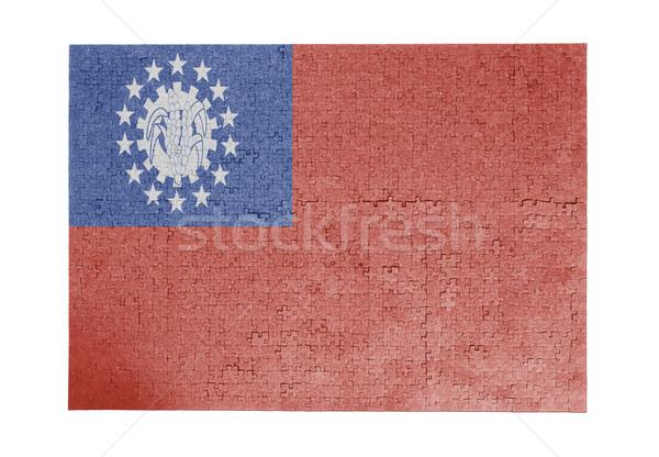 Nagy kirakós játék 1000 darabok Myanmar zászló Stock fotó © michaklootwijk