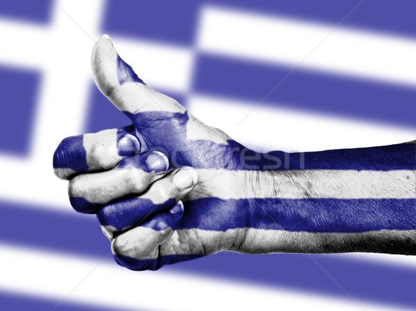 Greek flag on thumbs up hand Stock photo © michaklootwijk