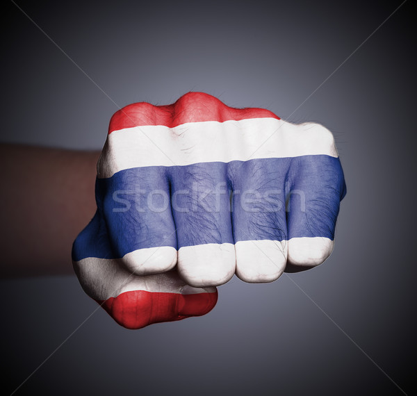 Front view of punching fist on gray background Stock photo © michaklootwijk