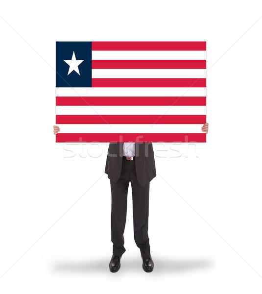 Foto d'archivio: Imprenditore · grande · carta · bandiera · Liberia