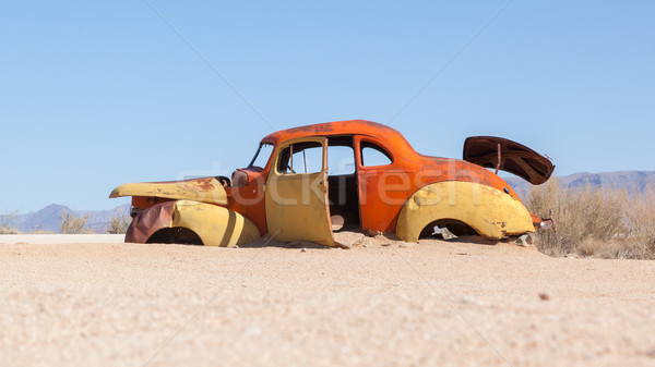 Abandoned car in the Namib Desert Stock photo © michaklootwijk
