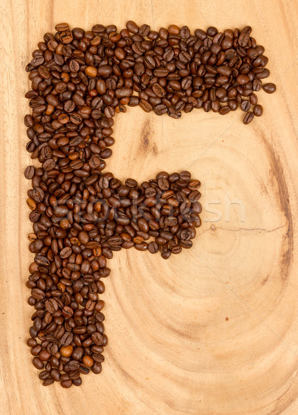 Letter F, alphabet from coffee beans Stock photo © michaklootwijk