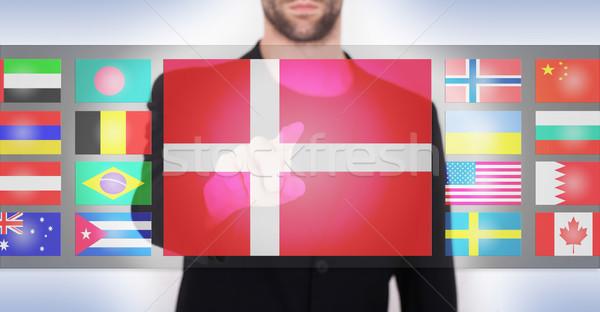 Stockfoto: Hand · voortvarend · interface · kiezen · taal