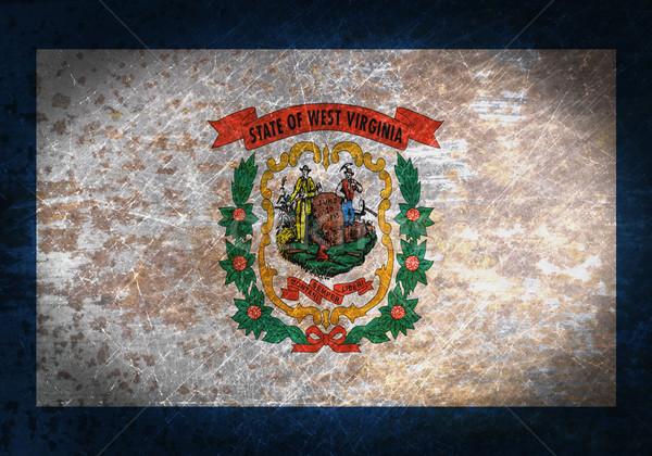 Oude roestige metaal teken vlag West Virginia Stockfoto © michaklootwijk