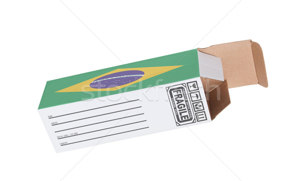 Export termék Brazília kinyitott papír doboz Stock fotó © michaklootwijk