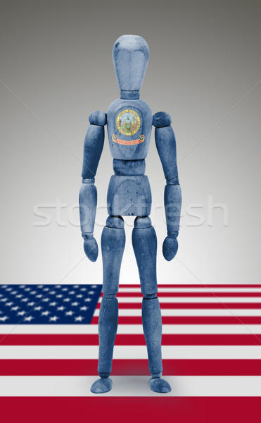 Wood figure mannequin with US state flag bodypaint - Idaho Stock photo © michaklootwijk
