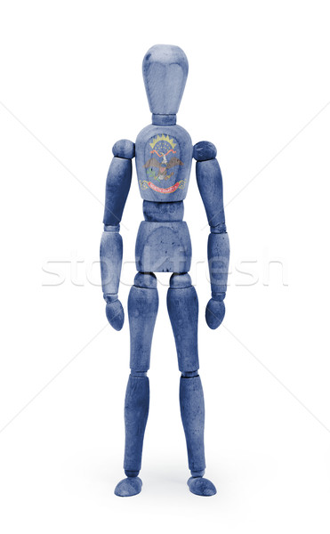 Wood figure mannequin with US state flag bodypaint - North Dakot Stock photo © michaklootwijk