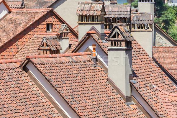 見える 古い 屋根 市 風景 旅行 ストックフォト © michaklootwijk