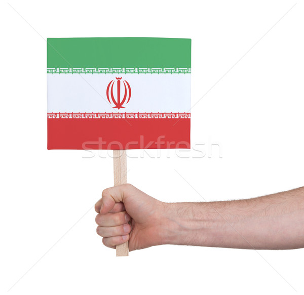 Stock photo: Hand holding small card - Flag of Iran