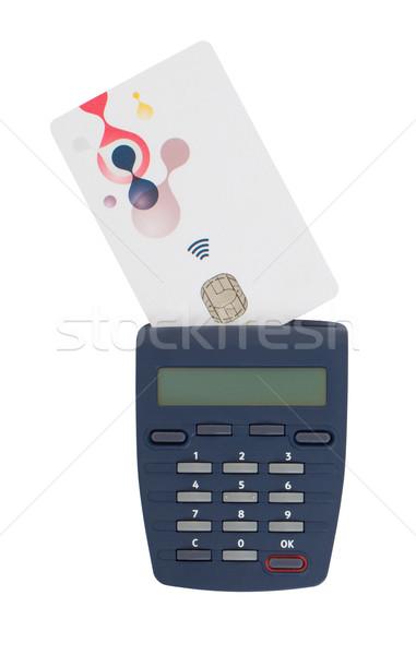 Kártya olvasó olvas bankkártya bankügylet otthon Stock fotó © michaklootwijk