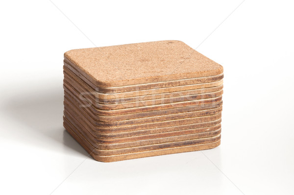 Pile of cork textured coasters isolated Stock photo © michaklootwijk