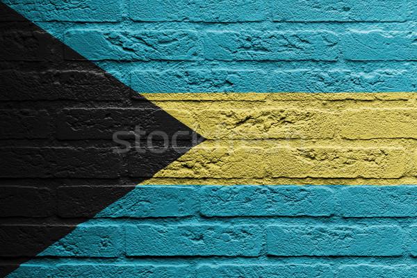Stock fotó: Téglafal · festmény · zászló · Bahamák · izolált · festék