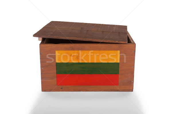 Bois caisse isolé blanche produit Lituanie Photo stock © michaklootwijk