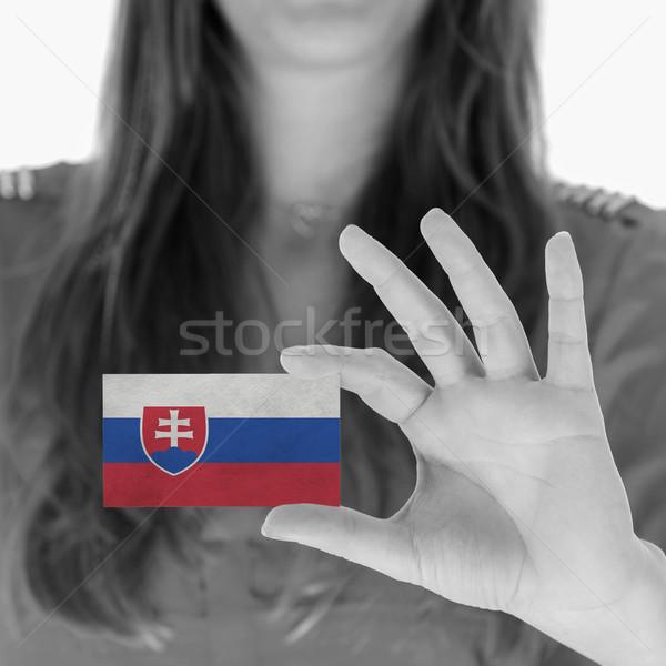 Foto stock: Mulher · cartão · de · visita · Eslováquia · terno · preto