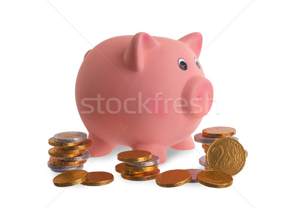 Euro currency, chocolate coins with piggy bank Stock photo © michaklootwijk