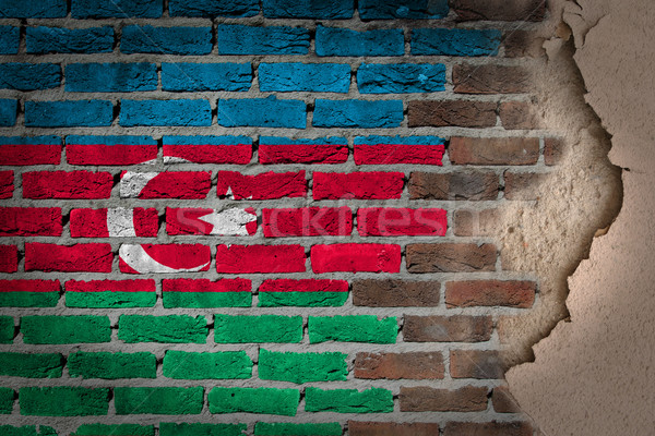 Ciemne murem gipsu Azerbejdżan tekstury banderą Zdjęcia stock © michaklootwijk