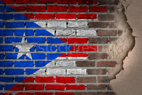Sombre mur de briques plâtre Puerto Rico texture pavillon Photo stock © michaklootwijk