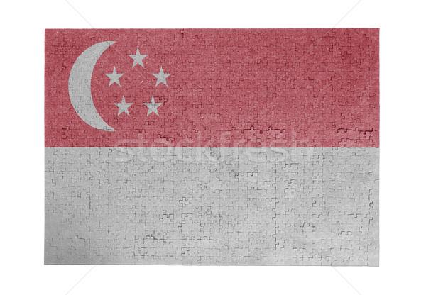 Nagy kirakós játék 1000 darabok Szingapúr zászló Stock fotó © michaklootwijk