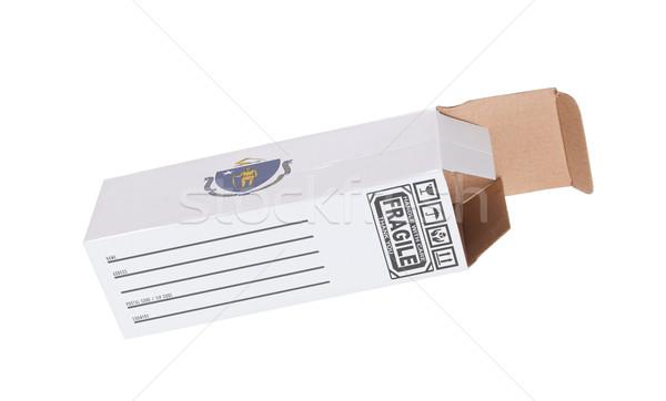 Exportar produto Massachusetts papel caixa Foto stock © michaklootwijk