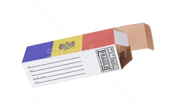 Export termék Moldova kinyitott papír doboz Stock fotó © michaklootwijk