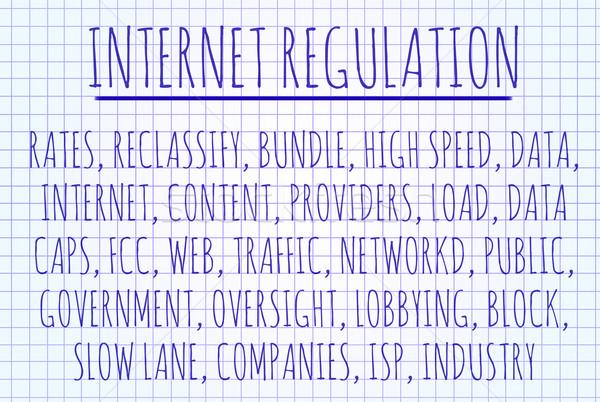 Internet regeling woordwolk geschreven stuk papier Stockfoto © michaklootwijk
