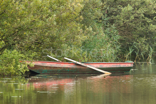 Red rowing boat on lake Stock photo © michaklootwijk