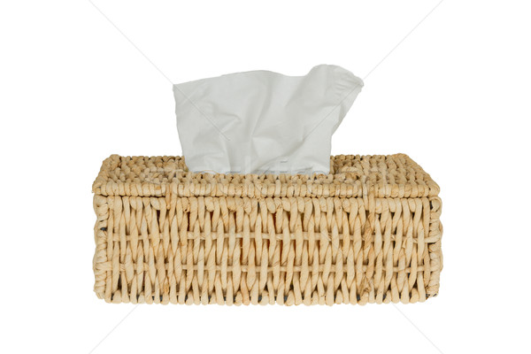 Stock fotó: Papírzsebkendő · doboz · izolált · fehér · fürdőszoba · textil