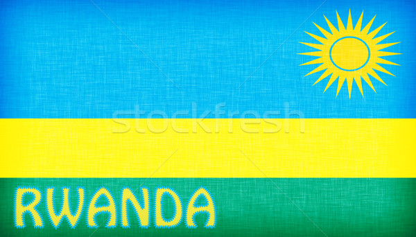 Flag of Rwanda stitched with letters Stock photo © michaklootwijk