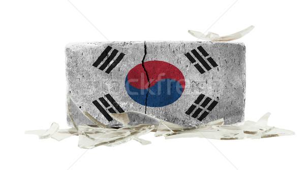 レンガ 割れたガラス 暴力 フラグ 韓国 壁 ストックフォト © michaklootwijk