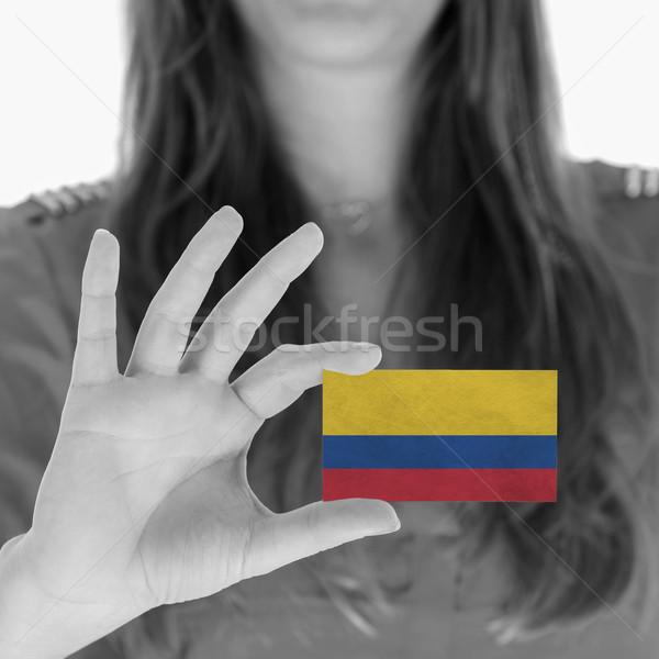 Vrouw tonen visitekaartje zwart wit Colombia ruimte Stockfoto © michaklootwijk
