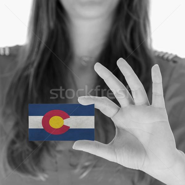 Kadın kartvizit siyah beyaz Colorado uzay Stok fotoğraf © michaklootwijk