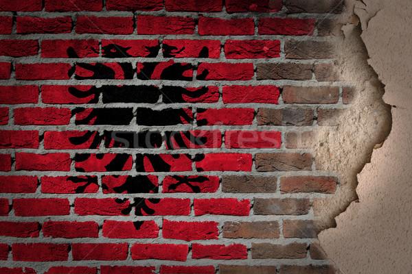 темно кирпичная стена штукатурка Албания текстуры флаг Сток-фото © michaklootwijk