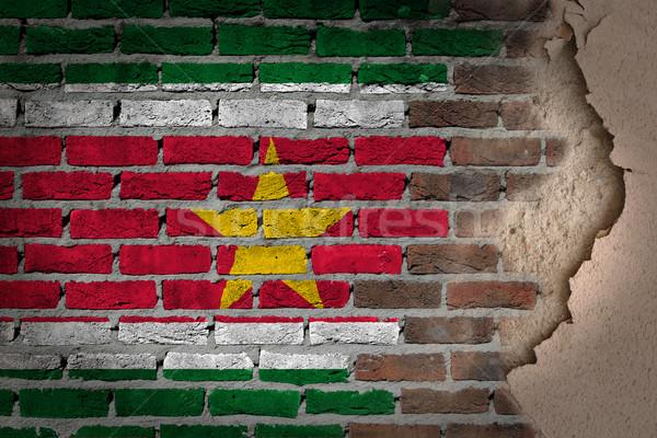 Foto stock: Oscuro · pared · de · ladrillo · yeso · Surinam · textura · bandera