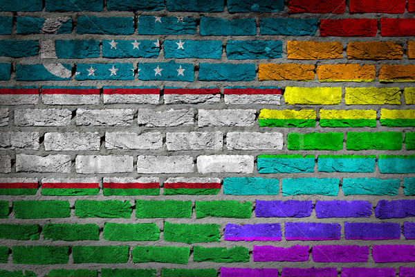 Sötét téglafal jogok Üzbegisztán textúra zászló Stock fotó © michaklootwijk