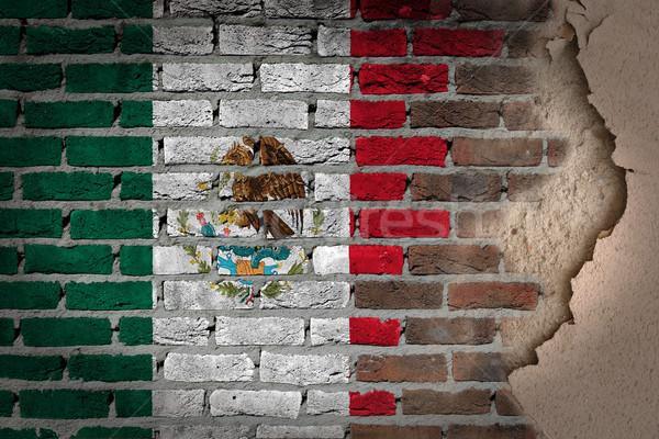Escuro parede de tijolos gesso México textura bandeira Foto stock © michaklootwijk