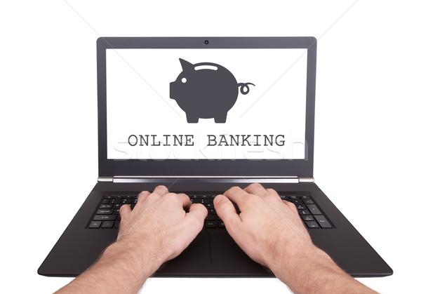 Foto stock: Hombre · de · trabajo · portátil · línea · bancario · aislado