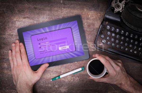 Giriş arayüz tablet kullanıcı adı parola mor Stok fotoğraf © michaklootwijk