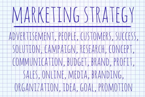 Estratégia de marketing nuvem da palavra escrito peça papel internet Foto stock © michaklootwijk
