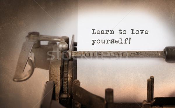 Stok fotoğraf: Bağbozumu · eski · daktilo · öğrenmek · sevmek