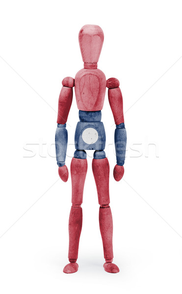 Wood figure mannequin with flag bodypaint - Laos Stock photo © michaklootwijk