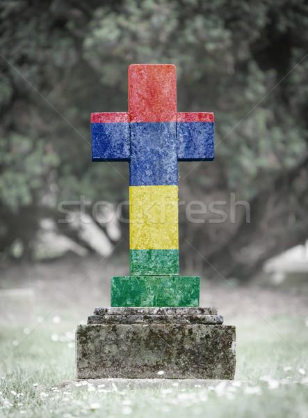 Grafsteen begraafplaats Mauritius oude verweerde vlag Stockfoto © michaklootwijk