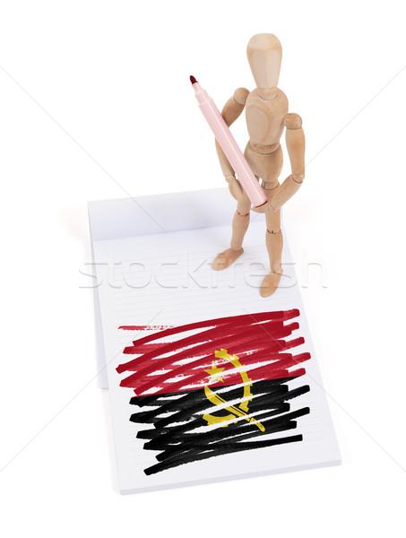 Houten etalagepop tekening Angola vlag papier Stockfoto © michaklootwijk