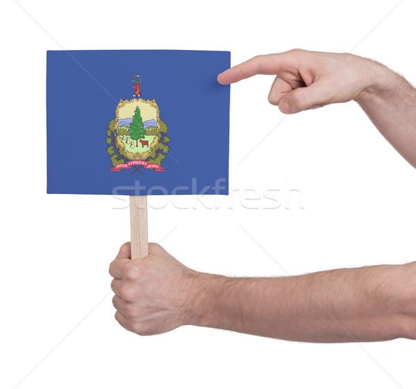 Kéz tart kicsi kártya zászló Vermont Stock fotó © michaklootwijk