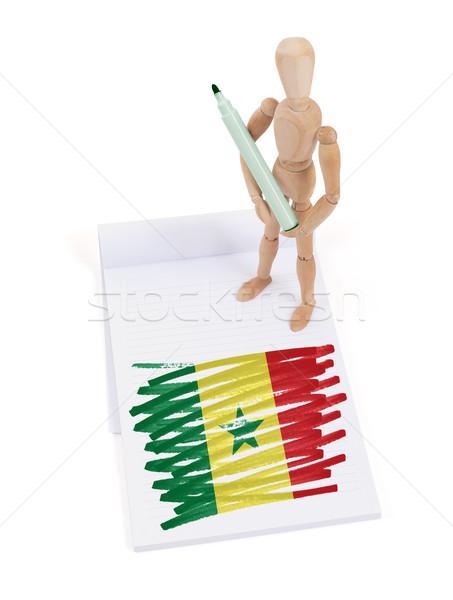 Fából készült próbababa rajz Szenegál zászló papír Stock fotó © michaklootwijk