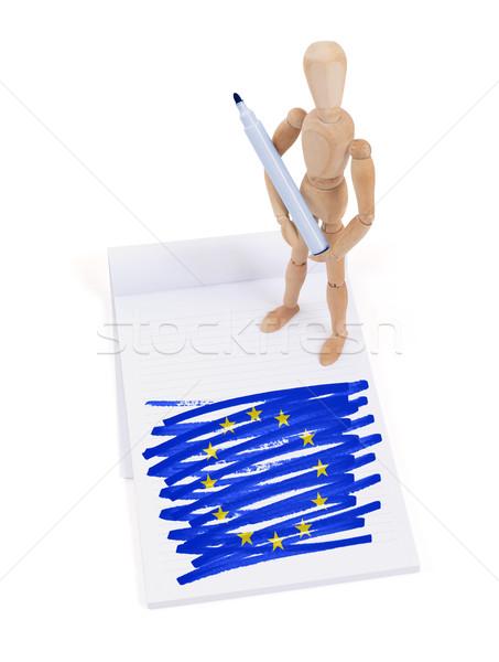 Fából készült próbababa rajz európai szövetség zászló Stock fotó © michaklootwijk