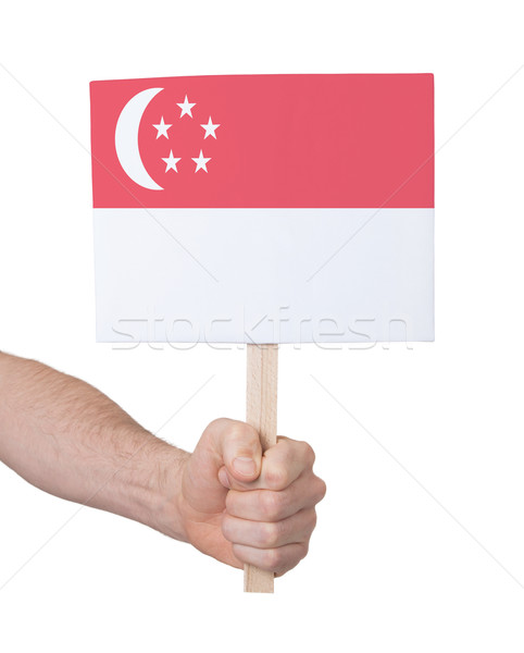Hand holding small card - Flag of Singapore Stock photo © michaklootwijk