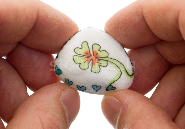 Stone with drawing of a clover four and small hearts Stock photo © michaklootwijk