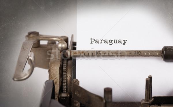 Starych maszyny do pisania Paragwaj napis vintage kraju Zdjęcia stock © michaklootwijk